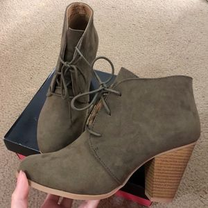 Charlotte Russe Olive Booties